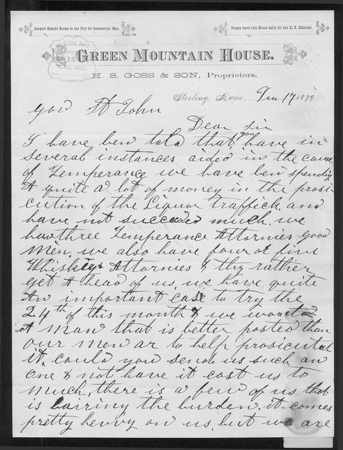 H.S. Goss to Governor John St. John - Page