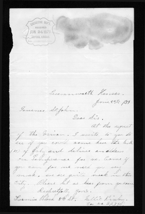 Nellie Kinley to Governor John St. John - Page