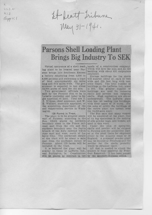 Parsons shell loading plant brings big industry to SEK - Page
