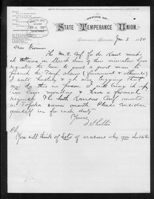 D. Shelton to Governor John St. John - Page