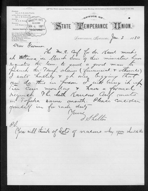 D. Shelton to Governor John St. John - Page