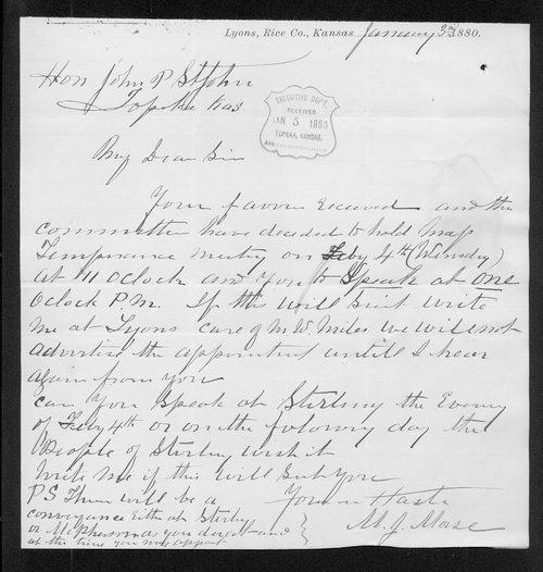 M.J. Morse to Governor John St. John - Page