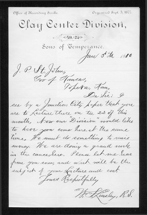 W.L. Linsley to Governor John St. John - Page