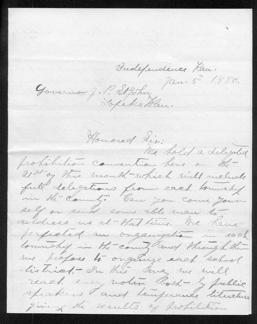 John Grass to Governor John St. John - Page