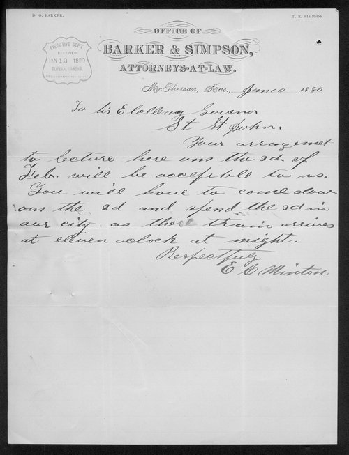 E. H. Minton to Governor John St. John - Page