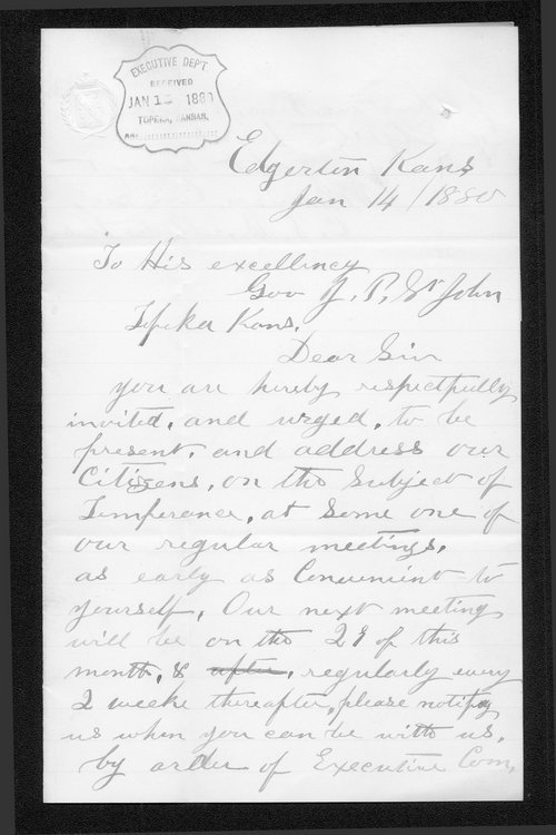 W.E. Garrison to Governor John St. John - Page