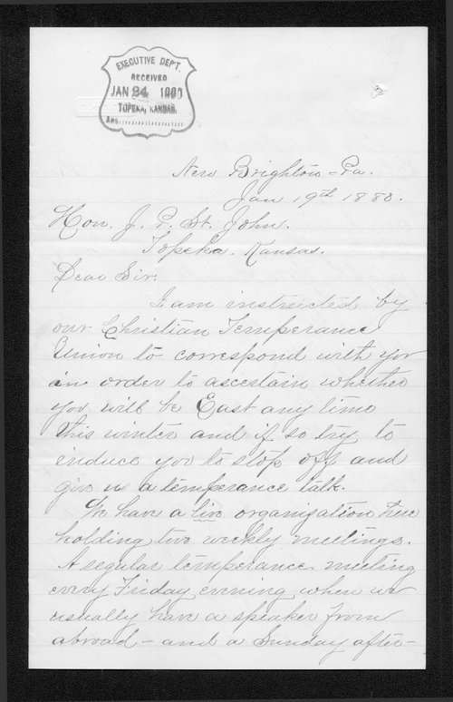 Annie Kennedy to Governor John St. John - Page