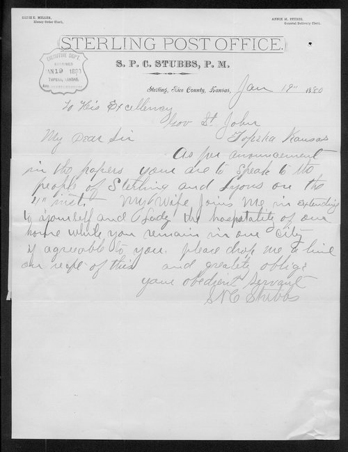 S.P.C. Stubbs to Governor John St. John - Page