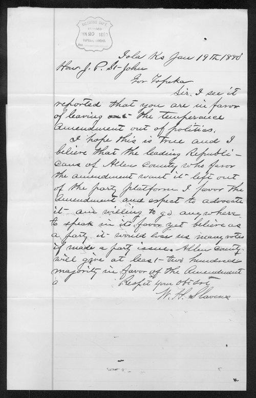 W.H. Slavens to Governor John St. John - Page