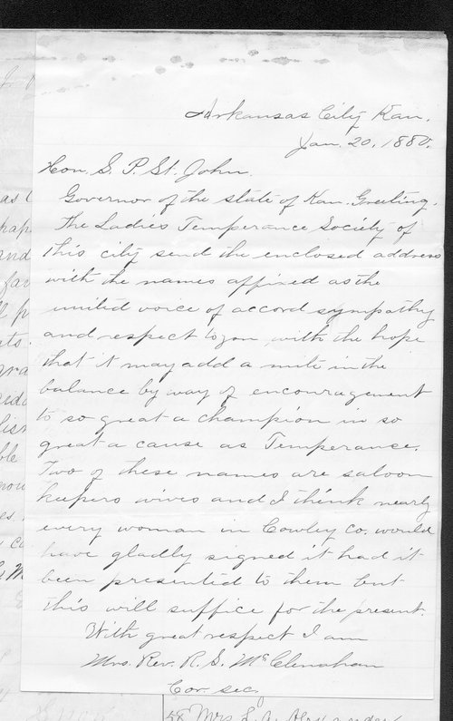 M.L. McClenahan to Governor John St. John - Page