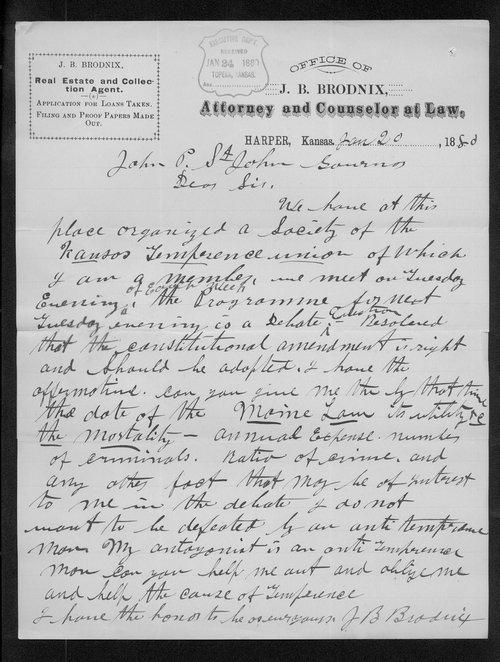 J.B. Brodnix to Governor John St. John - Page