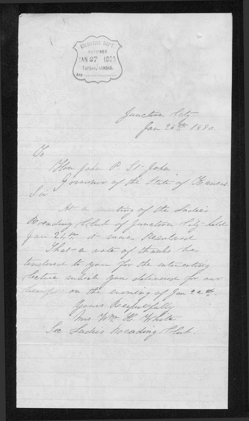 Mrs. W.H. White to Governor John St. John - Page
