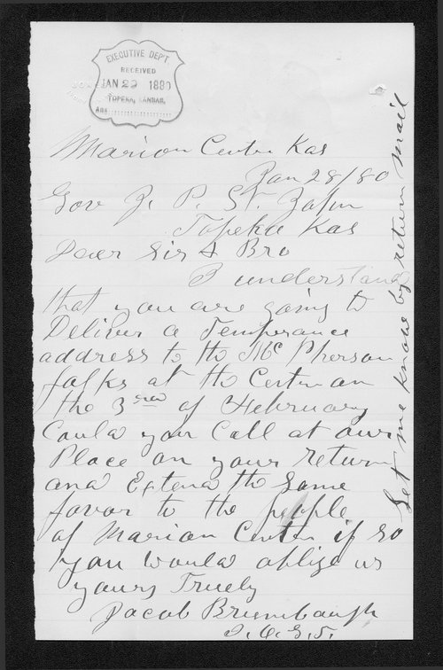 Jacob Brumbaugh to Governor John St. John - Page