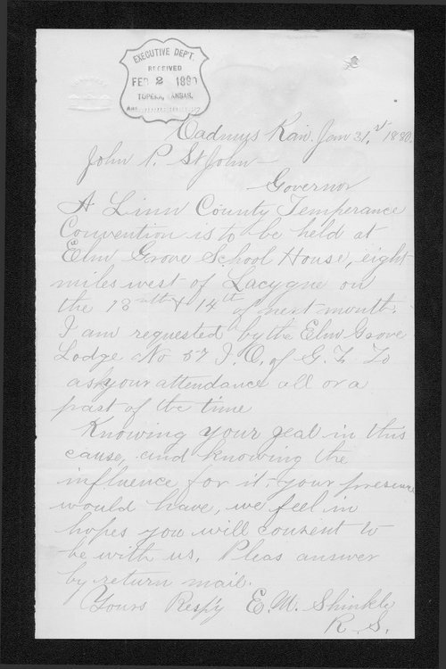 E. M. Shinkle to Governor John St. John - Page