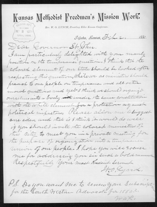 R.O. Lynch to Governor John St. John - Page