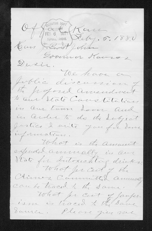 J.W. Edwards to Governor John St. John - Page