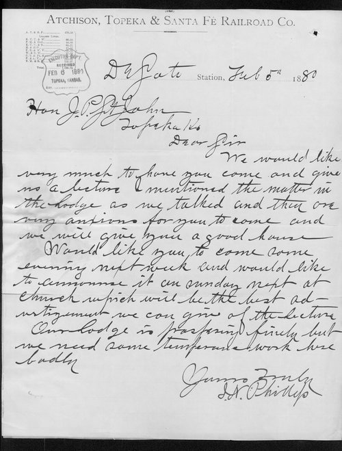 J.N. Phillips to Governor John St. John - Page