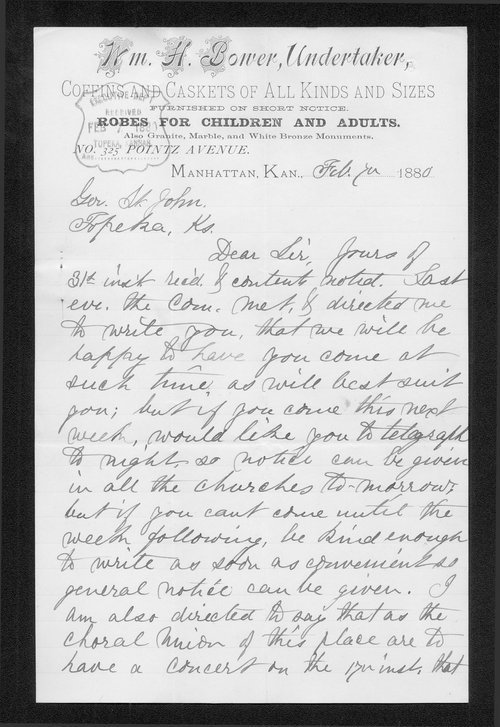 W.H. Bower to Governor John St. John - Page
