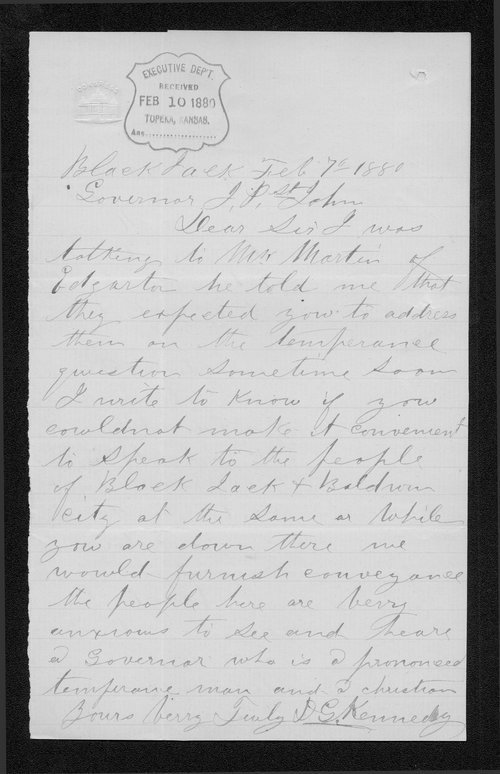 D. G. Kennedy to Governor John St. John - Page