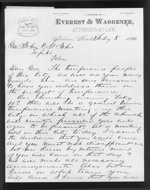 Bailie Waggener to Governor John St. John - Page