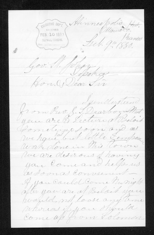 William Whitney to Governor John St. John - Page