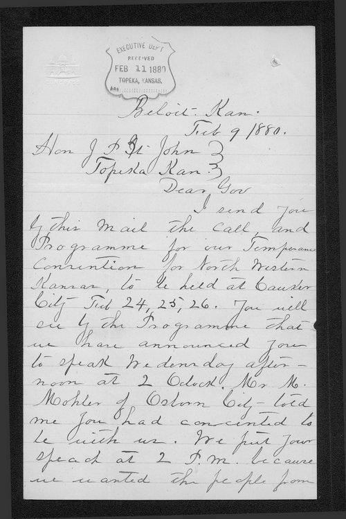 J.H. Lockwood to Governor John. St. John - Page