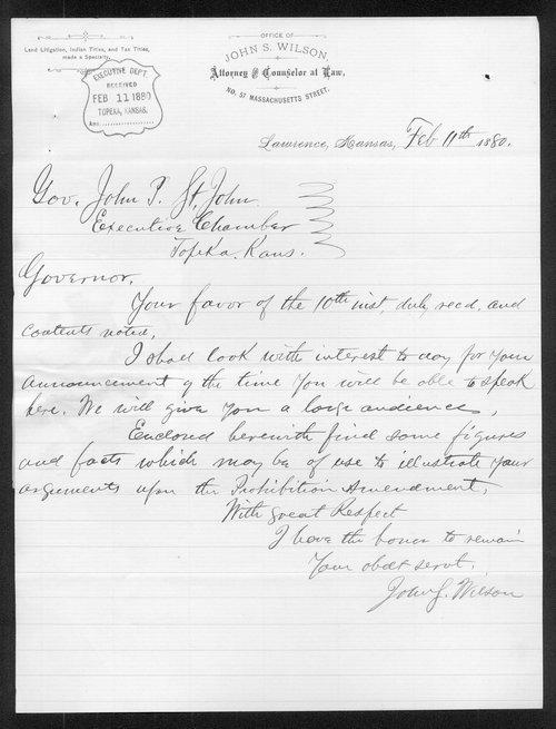 John S. Wilson to Governor John St. John - Page