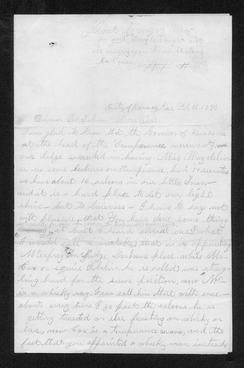 G.E.K. to Governor John St. John - Page