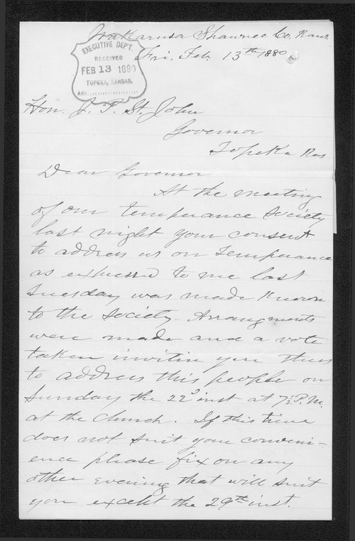 J.B. Gamble to Governor John St. John - Page