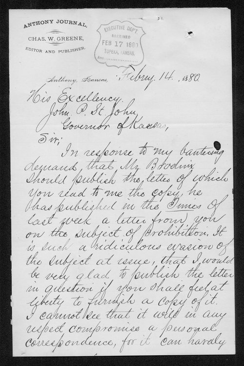 Charles W. Greene to Governor John St. John - Page