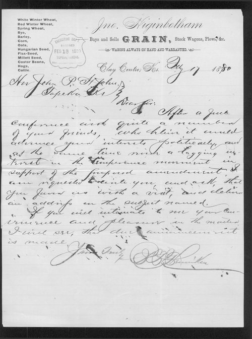 B. F. Fleniker to Governor John St. John - Page