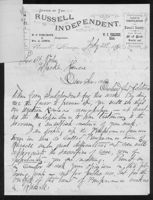 William Tomlinson to Governor John St. John - Page