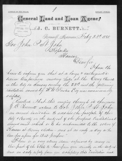 J.C. Burnett to Governor John St. John - Page