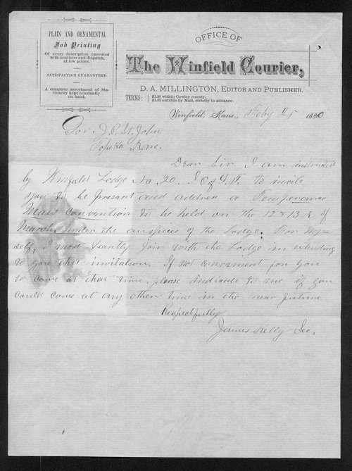 James Kelly to Governor John St. John - Page