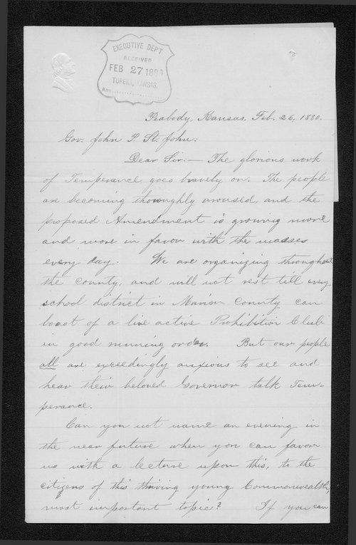 R.L. Cochman to Governor John St. John - Page