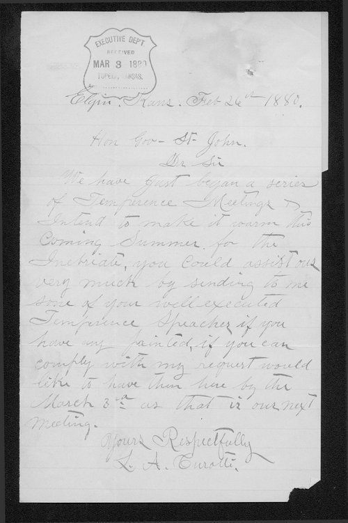 L.A. Curatte to Governor St. John - Page