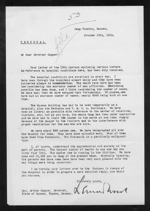 General Leonard Wood to Governor Arthur Capper - Page