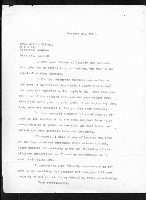 Governor Arthur Capper to Dollie Boland - Page
