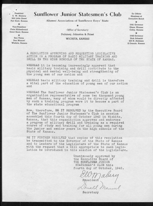 A resolution approving and requesting legislative action on a program of basic military training and drill in the high schools of the state of Kansas - Page