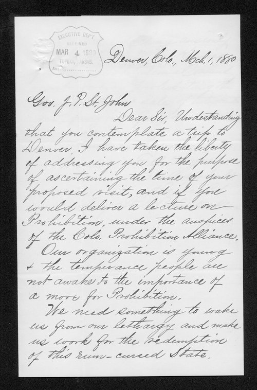 F.A. Noyes to Governor John St. John - Page