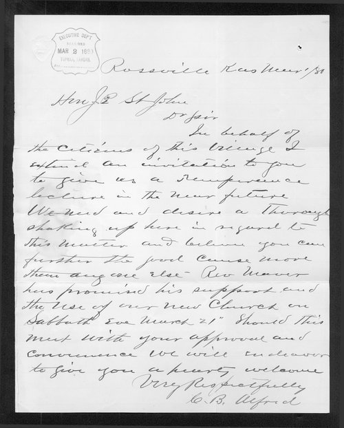 C. B. Alford to Governor John St. John - Page