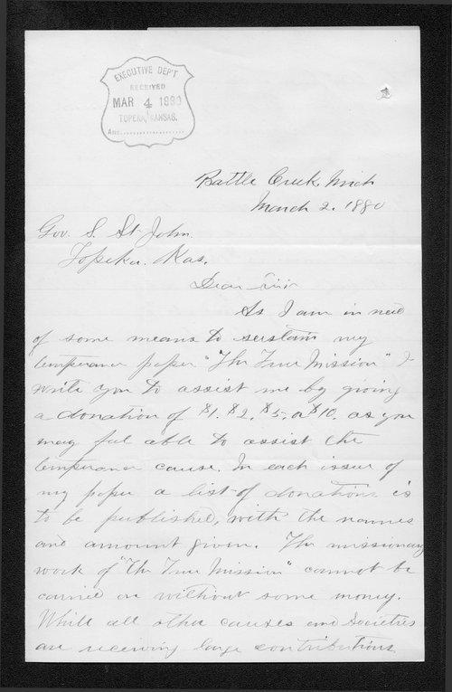 C. Eugene Howe to Governor John St. John - Page