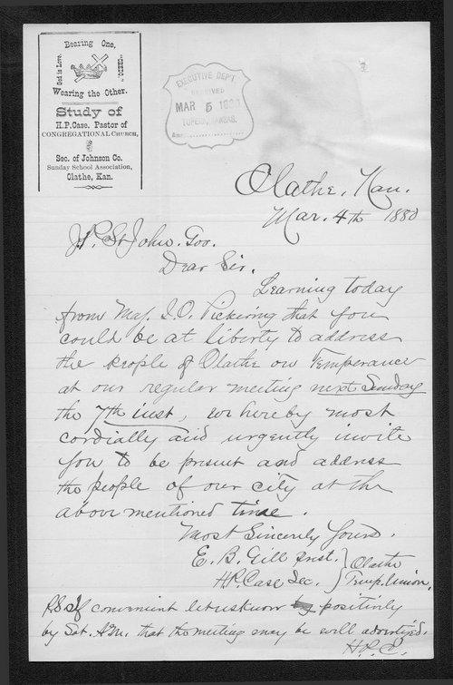 E. B. Gill to Governo John St. John - Page
