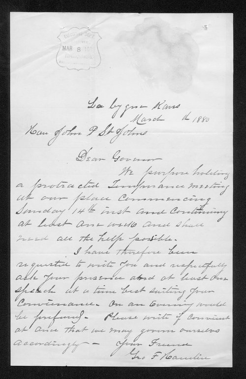 George Hamlin to Governor John St. John - Page