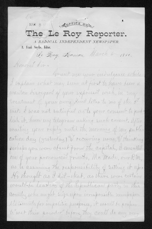 B. Frank Smythe to Governor John St. John - Page