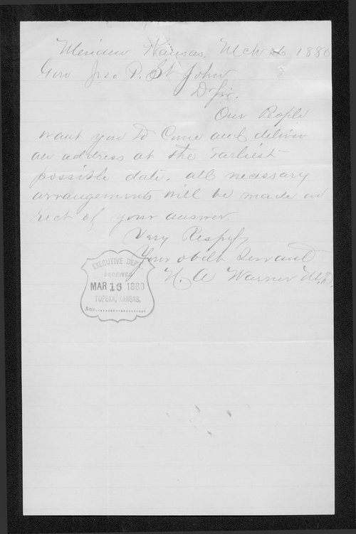 N. A. Warner to Governor John St. John - Page