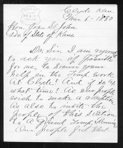 I.A. Cain to Governor John St. John - Page