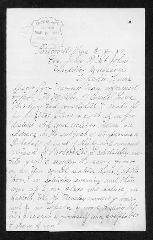 C. Welch to Governor John St. John - Page