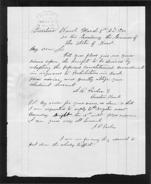 J.R. Parker to Governor John St. John - Page