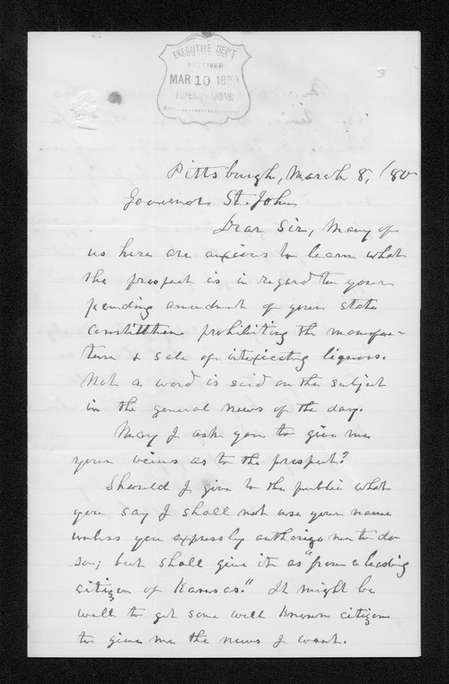 Josiah Coply to Governor John St. John - Page